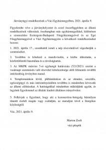 Járványügyi rendelkezések 2021.04.09.
